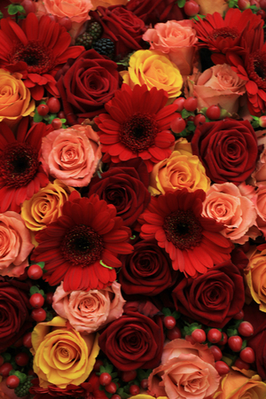 arrangment: Mixed rose wedding arrangment in red, pink, orange and yellow