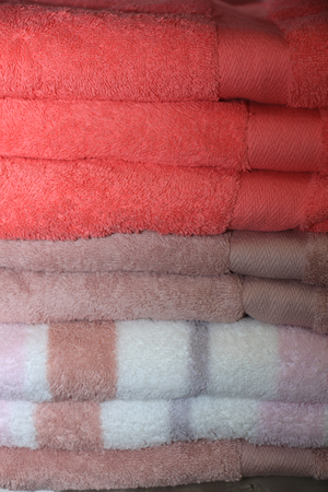 terrycloth: Stacked towels in a luxerious store