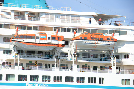 cruiseship: Velsen, the Netherlands - May, 6th 2016: MS Amadea in North Sea Canal. Amadea is a cruise ship owned by Amadea Shipping Company, operated by  Phoenix Reisen, built in 1991 in Nagasaki, Japan Editorial