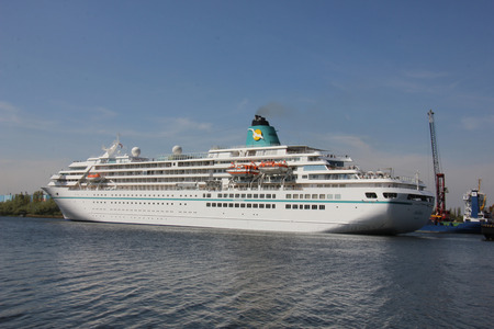 reisen: Velsen, the Netherlands - May, 6th 2016: MS Amadea in North Sea Canal. Amadea is a cruise ship owned by Amadea Shipping Company, operated by  Phoenix Reisen, built in 1991 in Nagasaki, Japan Editorial