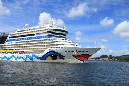 cruiseship: Velsen, the Netherlands -June 22nd, 2014:  Aida Stella on North Sea Canal, on its way to the Amsterdam Cruise Terminal
