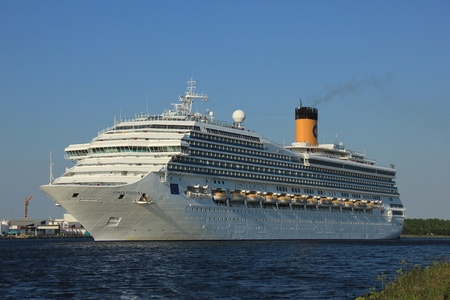 cruiseship: Velsen, The Netherlands - June 11, 2015: Costa Fortuna  Costa Fortuna is a cruise ship, owned and operated by Costa Crociere, built by Fincantieri Marghera shipyard in 2003. Its 273 m (896 ft) long.
