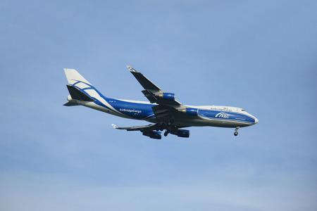 polderbaan: Amsterdam, The Netherlands - August 10 2015: VP-BIM AirBridgeCargo Boeing 747-4HAF in flight approaching runway Polderbaan at Schiphol Amsterdam Airport Editorial