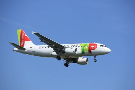 cs: Amsterdam, the Netherlands - July 21st 2016: CS-TTM TAP - Air Portugal Airbus A319, approaching Polderbaan runway at Schiphol Amsterdam Airport, arriving from Porto, Portugal Editorial