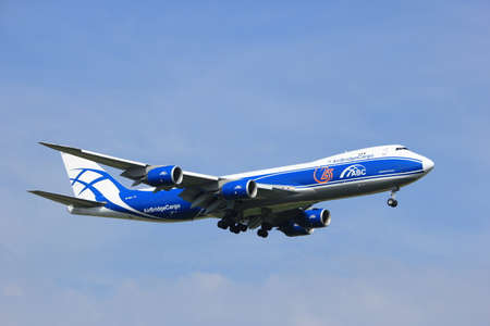 boeing 747: Amsterdam, the Netherlands - July 21st 2016:VQ-BGZ AirBridgeCargo Boeing 747, approaching Polderbaan runway at Schiphol Amsterdam Airport, arriving from Moscow, Russia