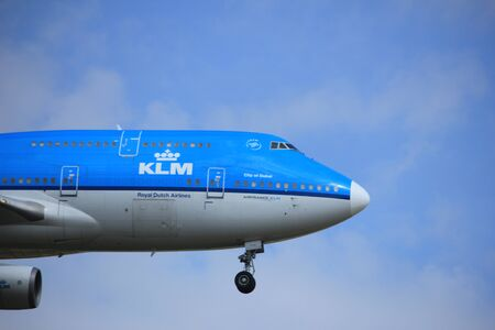 boeing 747: Amsterdam, the Netherlands - July 21st 2016: PH-BFD KLM Royal Dutch Airlines Boeing 747-406,  approaching Polderbaan runway at Schiphol Amsterdam Airport, arriving from Los Angeles, United States of America