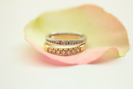 wedding bands: Two diamond wedding bands on a rose petal Stock Photo