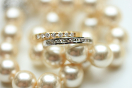 wedding bands: Two diamond wedding bands for a double bride wedding