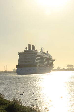 cruising: Velsen, The Netherlands -August, 6th 2016: Celebrity Silhouette is a Solstice-class cruise ship, owned and operated by Celebrity Cruises, built by Meyer Werft, Papenburg.