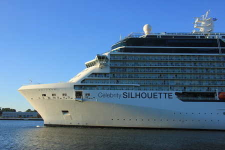 owned: Velsen, The Netherlands -August, 6th 2016: Celebrity Silhouette is a Solstice-class cruise ship, owned and operated by Celebrity Cruises, built by Meyer Werft, Papenburg.