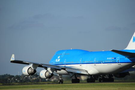 klm: Amsterdam, the Netherlands  - August, 18th 2016: PH-BFD KLM Royal Dutch Airlines Boeing 747-406(M),  taking off from Polderbaan Runway Amsterdam Airport Schiphol Editorial