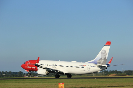 polderbaan: Amsterdam, the Netherlands  - August, 18th 2016: LN-NGF Norwegian Air Shuttle Boeing 737  taking off from Polderbaan Runway Amsterdam Airport Schiphol Editorial