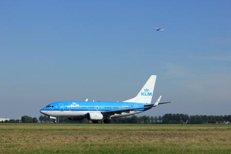 polderbaan: Amsterdam, the Netherlands  - August, 18th 2016: PH-BGM KLM Royal Dutch Airlines Boeing 737,  taking off from Polderbaan Runway Amsterdam Airport Schiphol