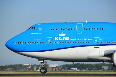 taking off: Amsterdam, the Netherlands  - August, 18th 2016: PH-BFV KLM Royal Dutch Airlines Boeing 747-406(M),  taking off from Polderbaan Runway Amsterdam Airport Schiphol Editorial