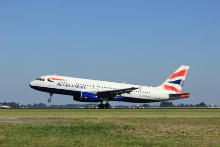 polderbaan: Amsterdam, the Netherlands  - August, 18th 2016: G-EUYD British Airways Airbus A320  taking off from Polderbaan Runway Amsterdam Airport Schiphol Editorial