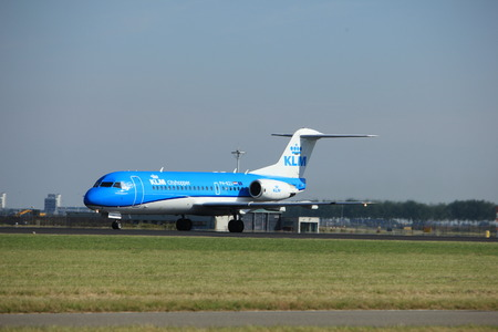 klm: Amsterdam, the Netherlands  - August, 18th 2016: PH-KZL  KLM Cityhopper Fokker F70,  taking off from Polderbaan Runway Amsterdam Airport Schiphol