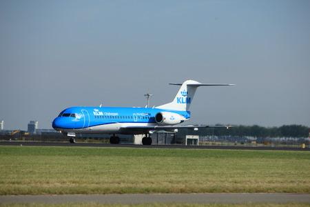 polderbaan: Amsterdam, the Netherlands  - August, 18th 2016: PH-KZL  KLM Cityhopper Fokker F70,  taking off from Polderbaan Runway Amsterdam Airport Schiphol