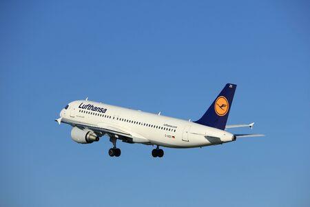 polderbaan: Amsterdam, the Netherlands  - August, 18th 2016: D-AIZO Lufthansa Airbus A320-214   taking off from Polderbaan Runway Amsterdam Airport Schiphol
