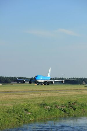 polderbaan: Amsterdam, the Netherlands  - August, 18th 2016: PH-BFD KLM Royal Dutch Airlines Boeing 747-406(M),  taking off from Polderbaan Runway Amsterdam Airport Schiphol Editorial