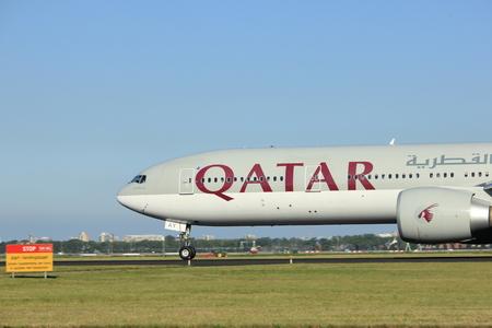 airways: Amsterdam, the Netherlands  - August, 18th 2016: A7-BAY Qatar Airways Boeing 777,  taking off from Polderbaan Runway Amsterdam Airport Schiphol