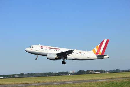 polderbaan: Amsterdam, the Netherlands  - August, 18th 2016: D-AKNN Germanwings Airbus A319,  taking off from Polderbaan Runway Amsterdam Airport Schiphol