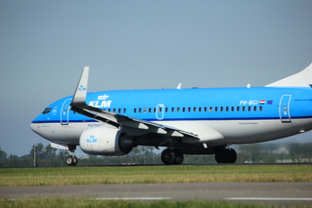 klm: Amsterdam, the Netherlands  - August, 18th 2016: PH-BGI KLM Royal Dutch Airlines Boeing 737,  taking off from Polderbaan Runway Amsterdam Airport Schiphol