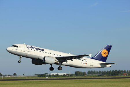 Amsterdam, the Netherlands  - August, 18th 2016: D-AIZO Lufthansa Airbus A320-214   taking off from Polderbaan Runway Amsterdam Airport Schiphol