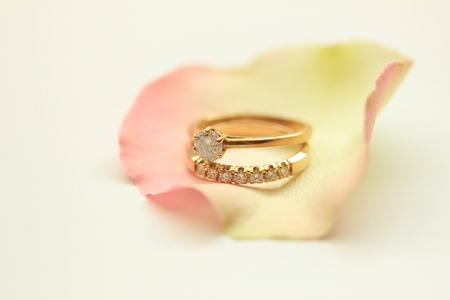 diamond rings: Two diamond rings on a rose petal Stock Photo