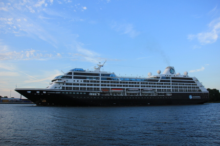 quest: Velsen, The Netherlands - August, 27th 2016: Azamara Quest a cruise ship owned and operated by Azamara Club Cruises on North Sea Canal Editorial