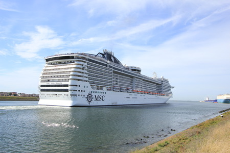 Ijmuiden, The Netherlands - September 10th, 2016: MSC Splendida a cruise ship owned and operated by MSC Cruises, towards North Sea Editorial