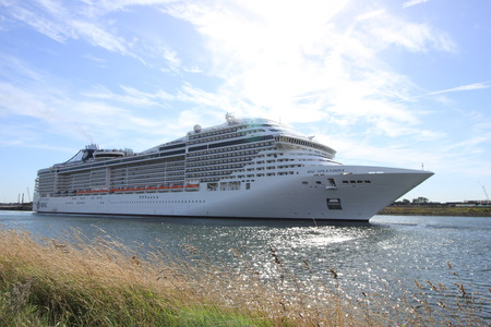 ijmuiden: Ijmuiden, The Netherlands - September 10th, 2016: MSC Splendida a cruise ship owned and operated by MSC Cruises, towards North Sea Editorial