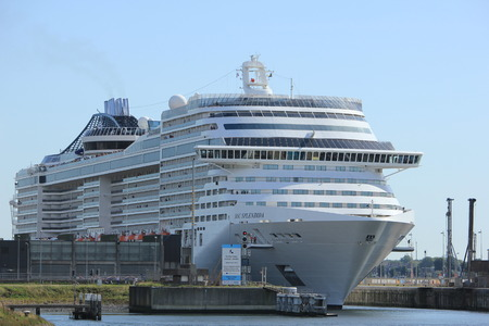 Ijmuiden, The Netherlands - September 10th, 2016: MSC Splendida a cruise ship owned and operated by MSC Cruises in sea lock IJmuiden