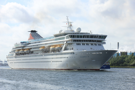 cruiseship: Velsen, The Netherlands - May 27, 2015: Balmoral. The Balmoral is a cruise ship owned and operated by Fred. Olsen Cruise Lines. She was built in 1988 by the Meyer Werft shipyard in Papenburg, West Germany and is 187.71 m (615 ft 10 in) long.