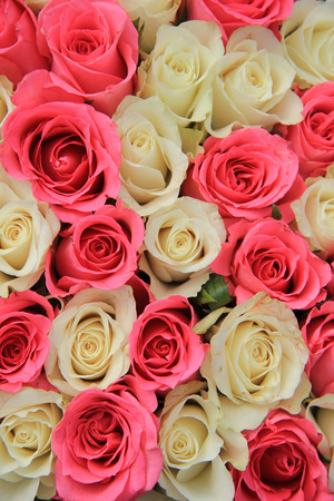 centerpiece: Bridal flowers, pink and white roses in a centerpiece Stock Photo
