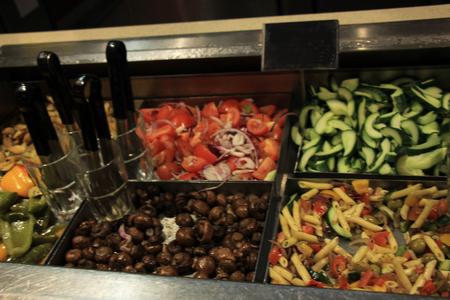 nutricion: Salad buffet, self service counter at a retaurant