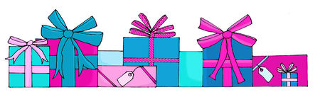 Hand drawn gift boxes in pink and blue Stock Photo