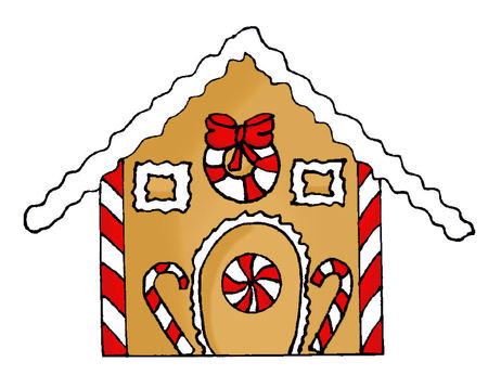 gingerbread house: Hand drawn gingerbread house with candy decorations Stock Photo