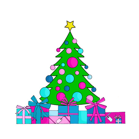 christmas gifts: Hand drawn decorated christmas tree and gifts Stock Photo