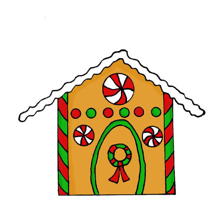 holiday house: Hand drawn gingerbread house with candy decorations Stock Photo