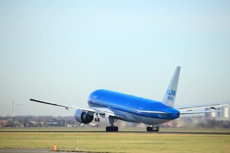 polderbaan: Amsterdam, the Netherlands  - November 25th, 2016:  PH-BQI KLM Royal Dutch Airlines Boeing 777 taking off from Polderbaan Runway at Amsterdam Airport Schiphol Editorial