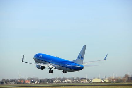 Amsterdam, the Netherlands  - November 25th, 2016: PH-BXH KLM Royal Dutch Airlines Boeing 737 taking off from Polderbaan Runway at Amsterdam Airport Schiphol
