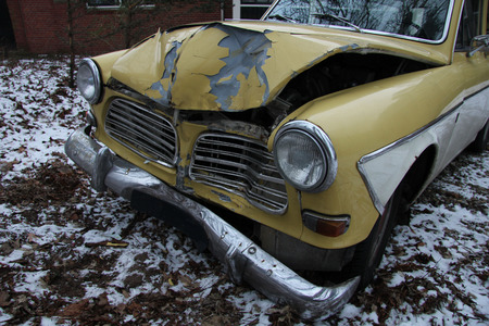 paintjob: Vintage, Swedish car with damage on the front Stock Photo
