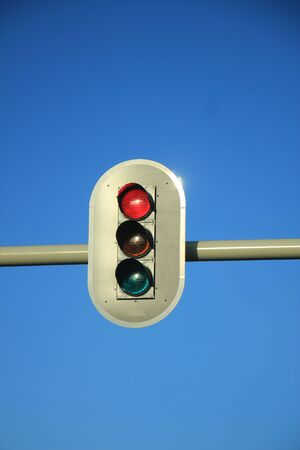 the traffic lights: Traffic lights in a clear blue sky