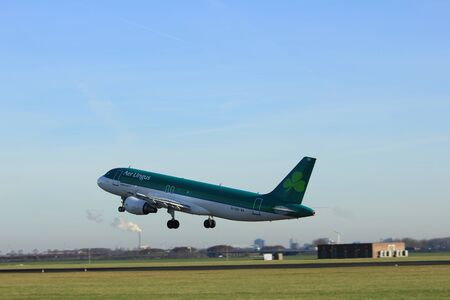 Amsterdam, the Netherlands  - November 25th, 2016: EI-DEH Aer Lingus  Airbus A320-214 taking off from Polderbaan Runway at Amsterdam Airport Schiphol