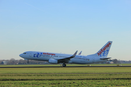 Amsterdam, the Netherlands  - November 25th, 2016:  EC-KCG Air Europa Boeing 737 taking off from Polderbaan Runway at Amsterdam Airport Schiphol Editorial