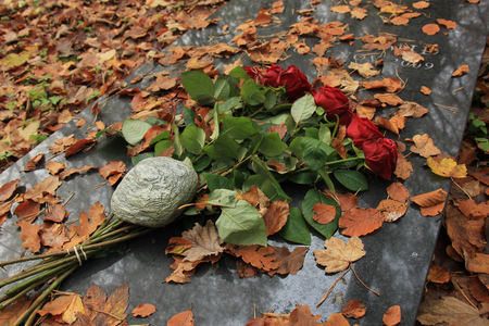 sympathy flowers: Red roses and autumn leaves on a gravestone Stock Photo