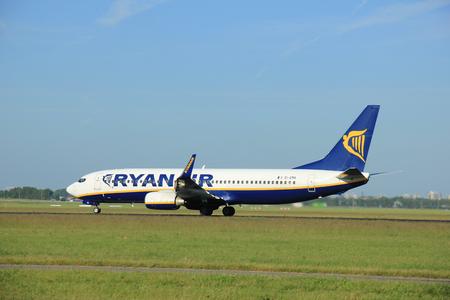 Amsterdam the Netherlands - June 9th, EI-EMA Ryanair Boeing 737-8AS(WL) takeoff from Polderbaan runway, destination Dublin, Ireland