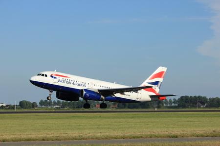 Amsterdam, the Netherlands  - August, 18th 2016: G-EUPN British Airways Airbus A319,  taking off from Polderbaan Runway Amsterdam Airport Schiphol Editorial