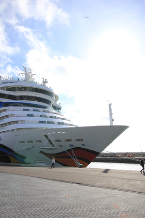 ijmuiden: IJmuiden, The Netherlands - May 27, 2015: AIDAsol, AIDAsol is a Sphinx class cruise ship, built at Meyer Werft in 2011 for AIDA Cruises. She is 252 m (826.77 ft) long.