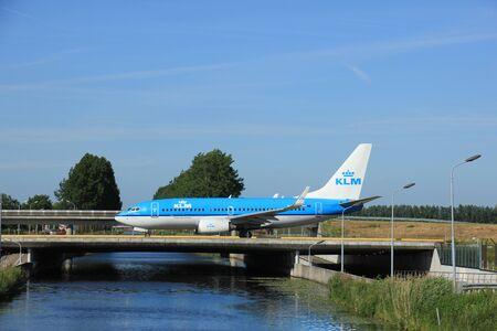 polderbaan: Amsterdam, the Netherlands - June 9th 2016:PH-BGR KLM Royal Dutch Airlines Boeing 737, taxiing to Polderbaan runway Schiphol, destination Paris, France Editorial